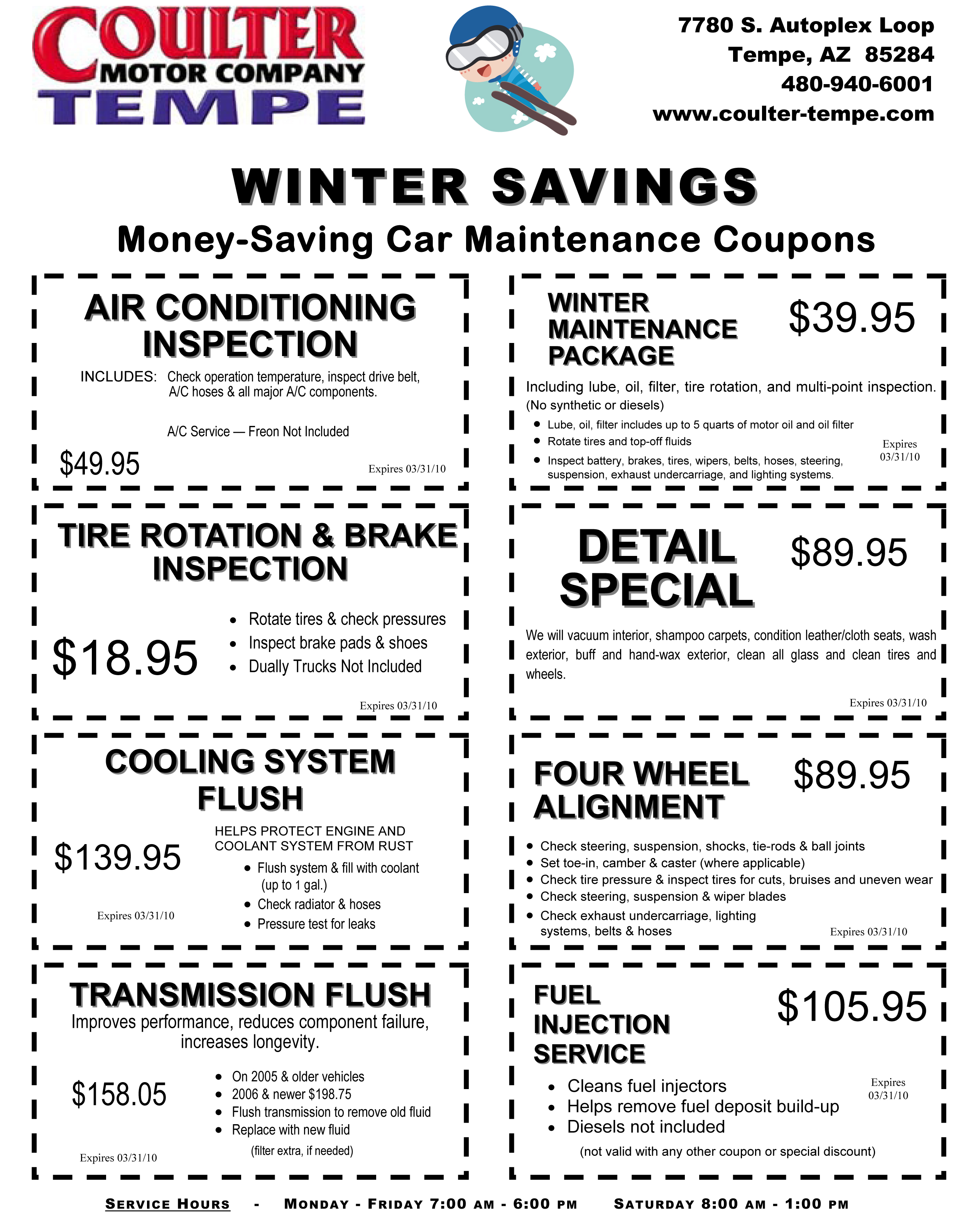 February service specials are here coulter motor company for Coulter motor company tempe