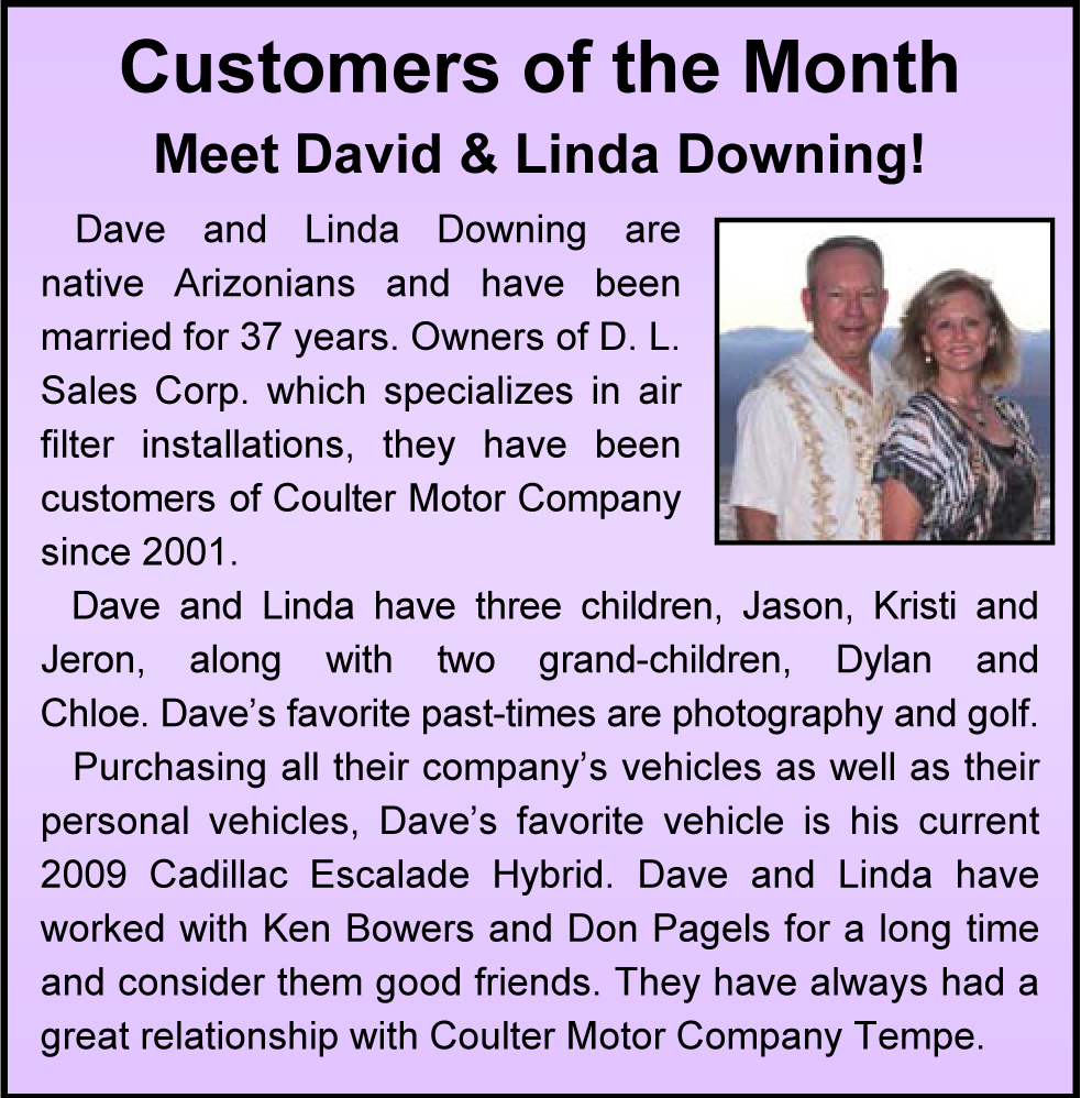 Monthly honors coulter motor company for Coulter motor company tempe